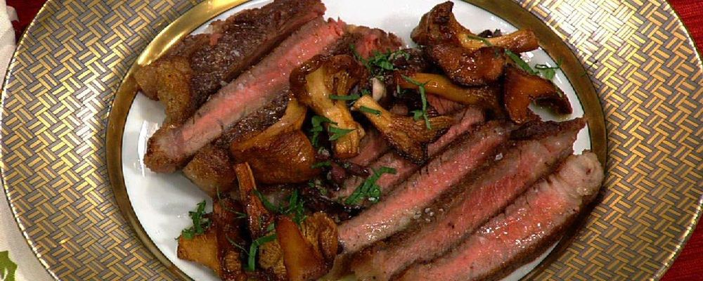 Mario Batali\'s Kobe Shell Steak with Black Olive Vinaigrette and Matsutake Mushrooms