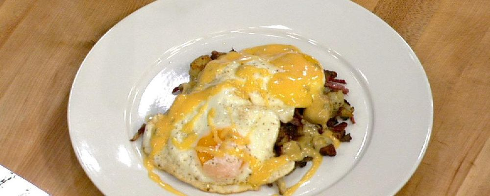 Michael Symon\'s Steak and Eggs with Pickled Jalapeno Hollandaise