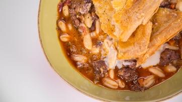 Mario Batali\'s Cavatelli and Sausage Pie