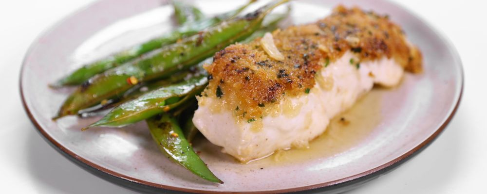 Michael Symon\'s Mustard Crusted Halibut in Butter Sauce