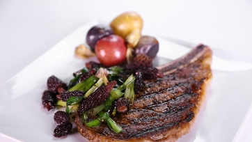 Mario Batali\'s Ribeye with Spring Onions, Morels, and Port