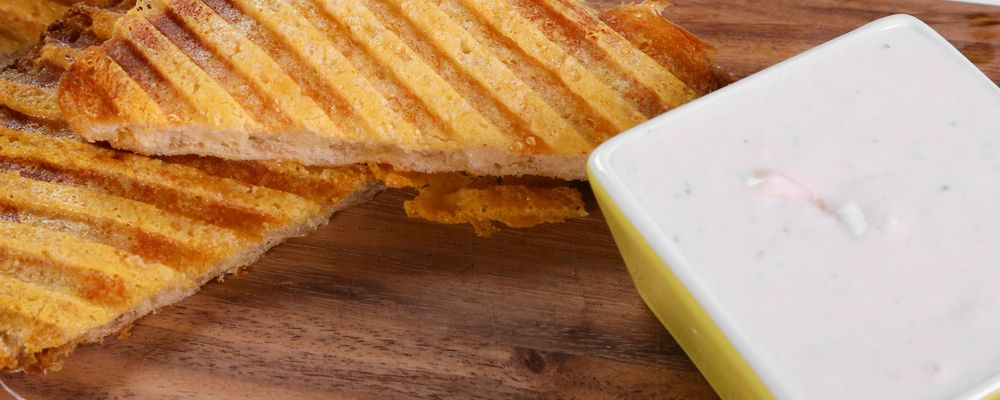 Crispy Grilled Cheese with Blue Cheese Fondue