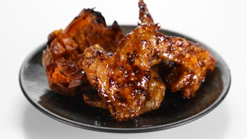 Akilah\'s Roasted Honey Ginger BBQ Wings with Twice Baked Yams