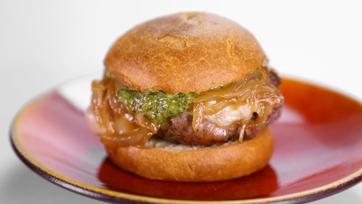 Lorin\'s Prosciutto Wrapped Gruyere Burger with Pesto Aioli