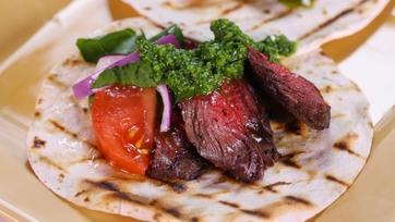 Michael Lomonaco\'s Skirt Steak Tortilla with Chimichurri Sauce