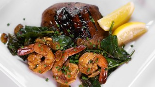 Balsamic Marinated Portobello Mushrooms with Shrimp and Spinach