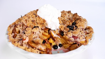 Tina Zaccardi\'s Peach Blueberry Crumb Pie with Pecan Crust