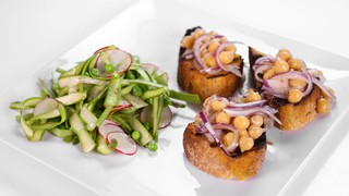 Chickpea Bruschetta with Shaved Vegetable Salad