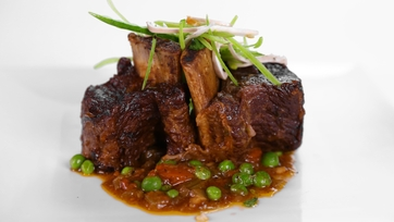 Mario Batali\'s Beer Braised Beef Short Ribs with Snow Pea Salad