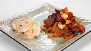 Michael Symon\'s Tarragon Halibut with Crispy Veggie Chips