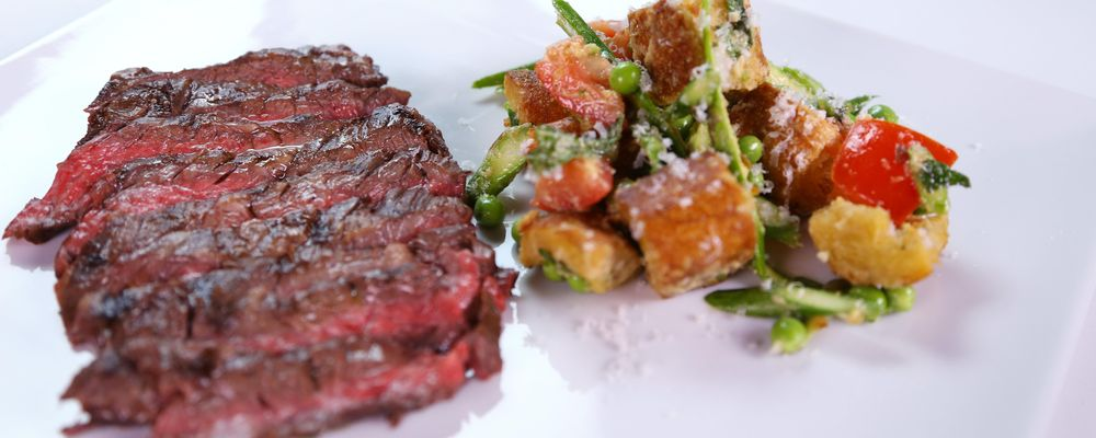 Grilled Skirt Steak with Asparagus and Pea Panzanella Salad