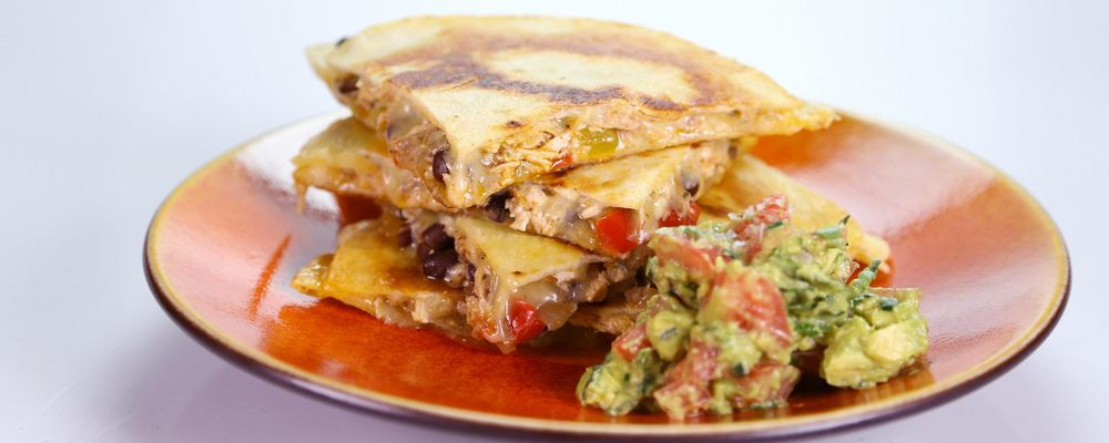 Carole\'s Chicken and Vegetable Quesadilla with Guacamole
