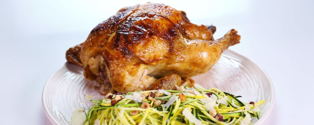 "Michael Symon\'s Roasted Chicken with Squash ""Spaghetti"""