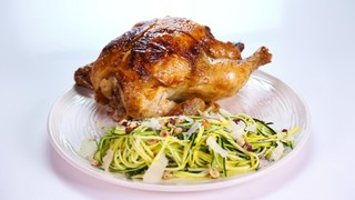 """Michael Symon\'s Roasted Chicken with Squash """"Spaghetti"""""""