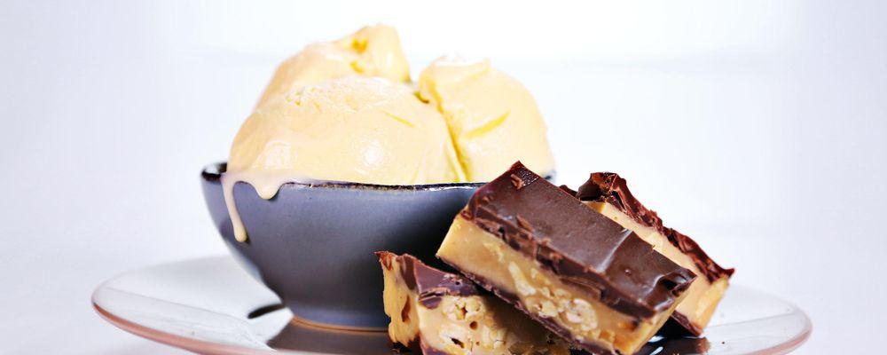Michael Symon\'s Chocolate Caramel Peanut Bars with Popcorn Gelato