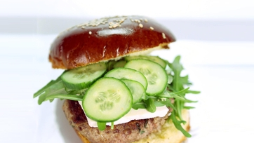 Lamb Burger with Arugula, Feta, and Cucumbers