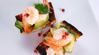 Daphne Oz\'s Spicy Garlic Butter Shrimp with Tomato Toast