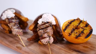 Michael Symon\'s Pork Souvlaki with Double Cooked Fries