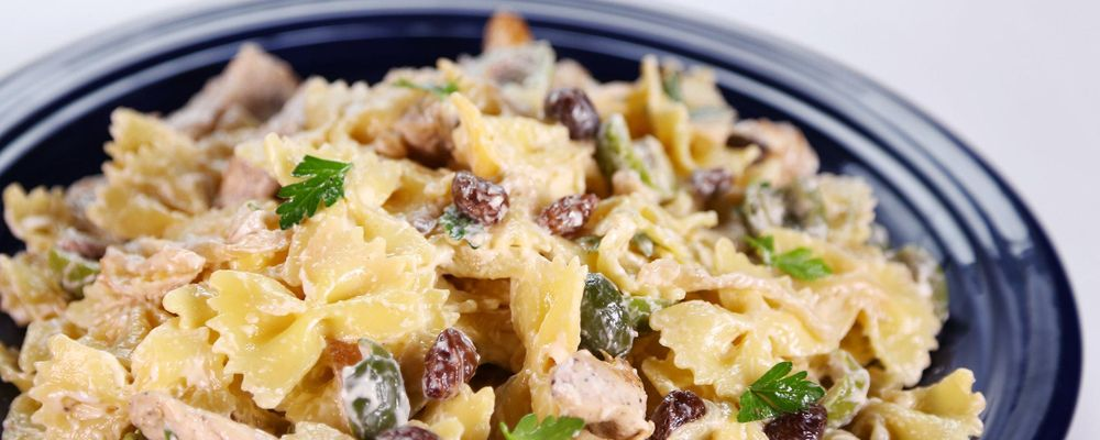 Chicken Pasta Salad with Green Olives and Raisins