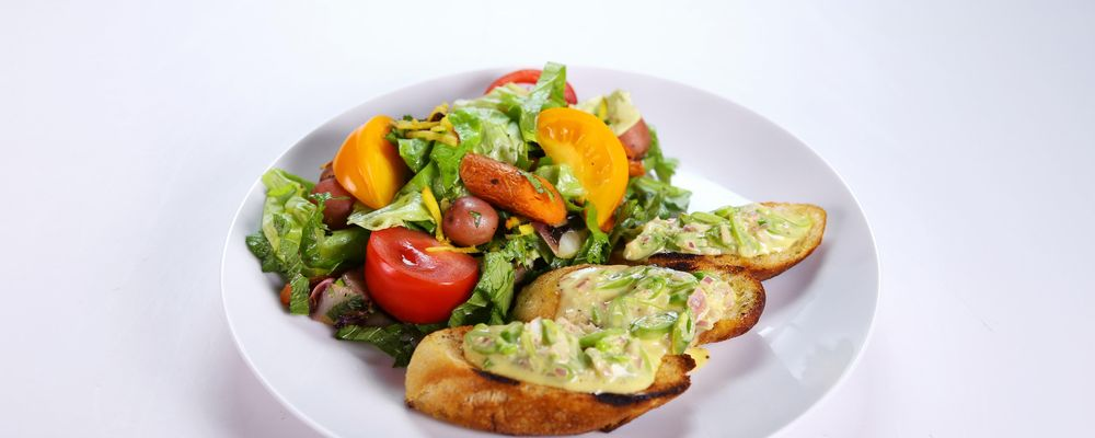 Carla Hall and Daphne Oz\'s Fresh Garden Salad and Snap Pea Crostini
