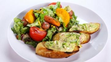 Carla Hall and Daphne Oz\'s Fresh Garden Salad and Snap Pea Crostini