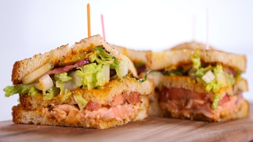 Grilled Salmon Club Sandwich