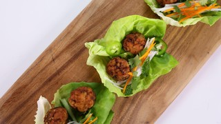 Spicy Pork Meatball Lettuce Cups