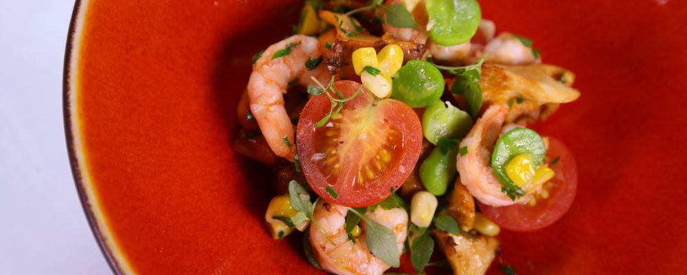 Geoffrey Zakarian\'s Rock Shrimp and Succotash