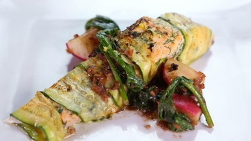Michael Symon\'s Zucchini Wrapped Salmon with Warm Radish Salad