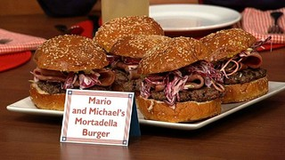 Michael Symon and Mario Batali\'s Mortadella Burger with Shasha Sauce