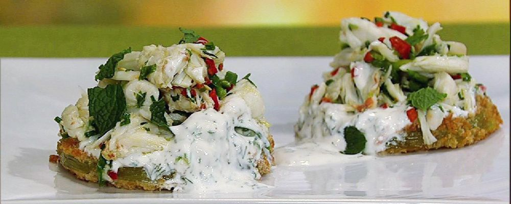 Michael Symon\'s Fried Green Tomatoes with Crab Salad