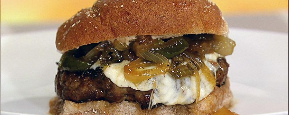 Ingrid Hoffman\'s Latin Burgers with Caramelized Onion and Jalapeno Relish