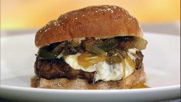 Ingrid Hoffman\'s Latin Burgers with Caramelized Onion and Jalapeno Relish