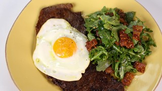 Minute Steak with Fried Egg and Warm Arugula Salad