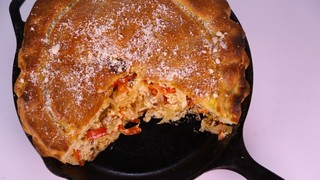 Michael Symon\'s Sausage, Pepper and Onion Pizza Pie