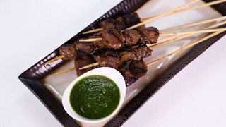 Beef Skewers with Cilantro Pesto