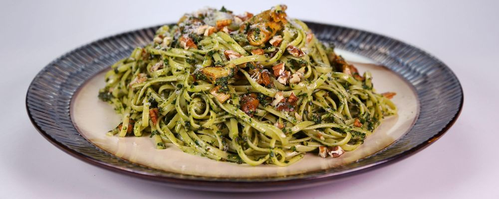 Creamy Collard Pesto with Pasta and Mushrooms