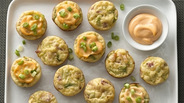 Cheesy Broccoli Puffs with Sriracha Mayonnaise
