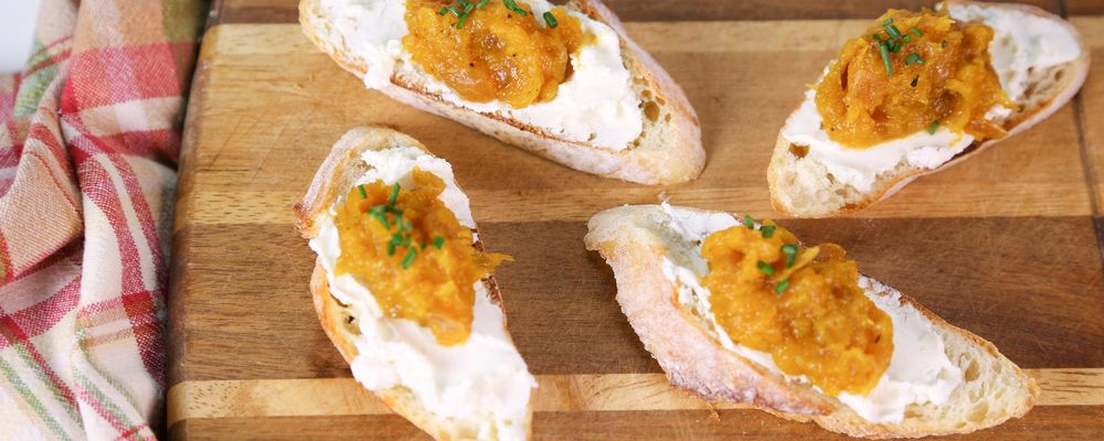 Butternut Squash with Goat Cheese Crostini