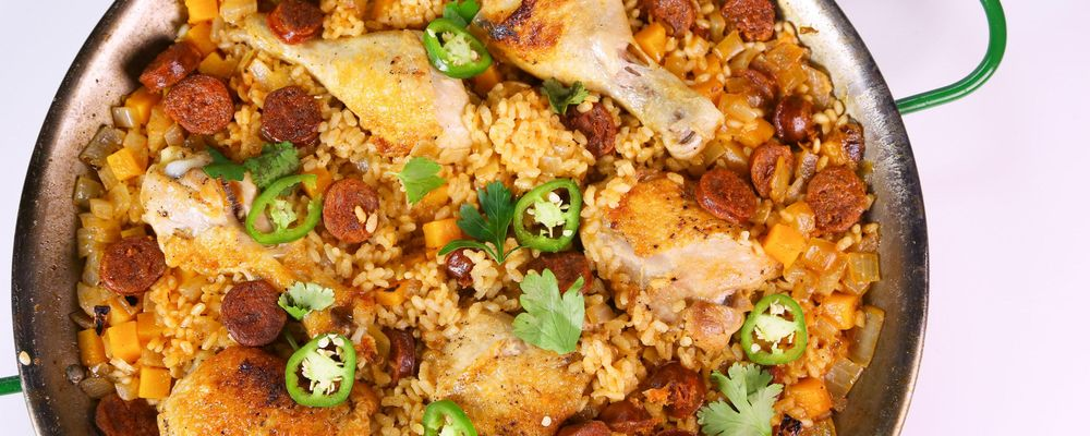Michael Symon\'s Chicken and Chorizo Paella