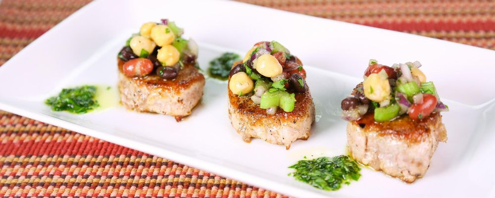 Carla Hall\'s Pork Tenderloin with Three Bean Salad