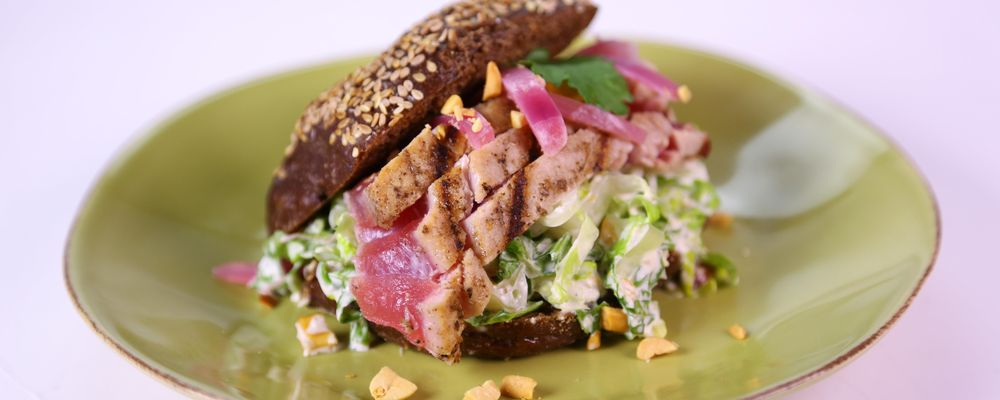 Grilled Tuna Steak Sandwich with Ginger Lime Slaw