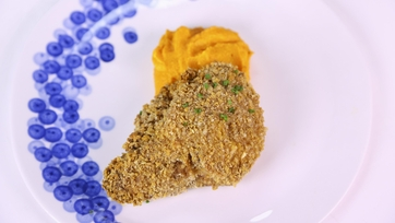 Oven-Fried Chicken with Mashed Sweet Potatoes