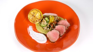 Herbed Pork Tenderloin with Minted Yogurt Sauce