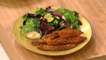 Faux-Fried Chicken Strips with Side Salad