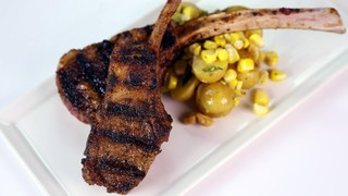 Grilled Lamb Chops with Warm Potato and Corn Salad
