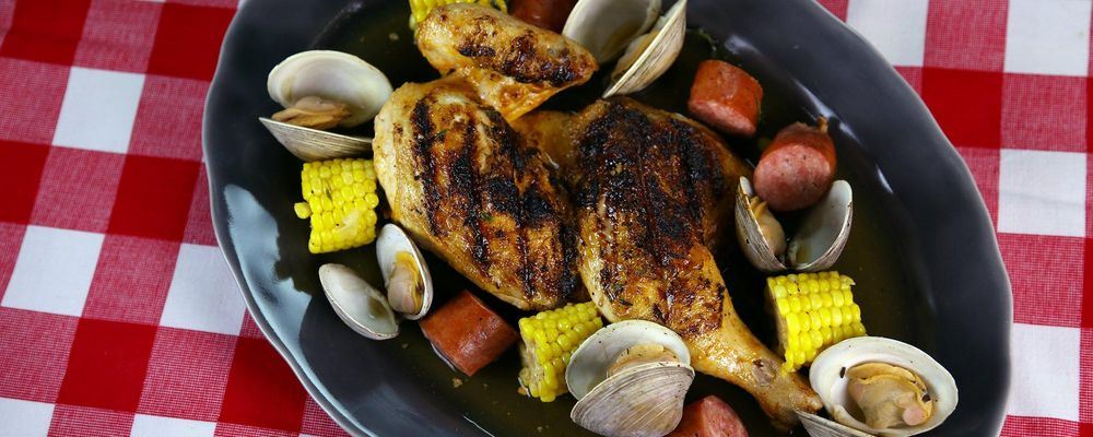 Grilled Chicken with Kielbasa and Clams