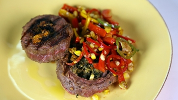 Grilled Steak with Charred Corn & Pepper Salad