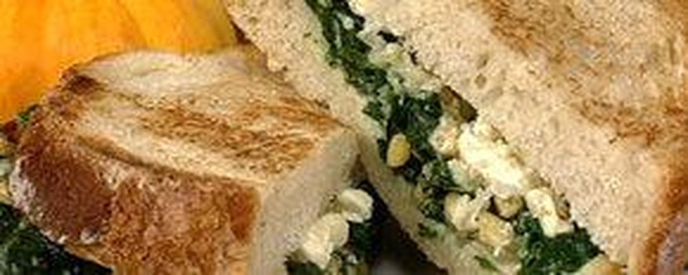 Michael's Spinach and Feta Grilled Cheese with Tomato Soup