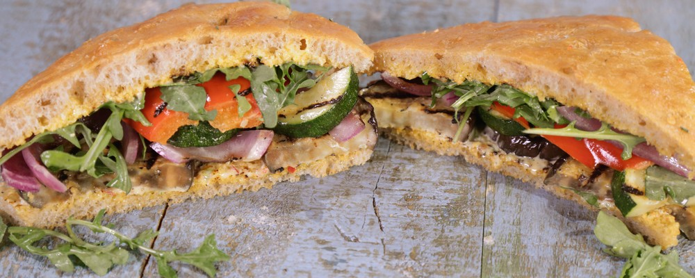 New Recipe: Grilled Vegetable Focaccia Sandwich with Bomba Aioli